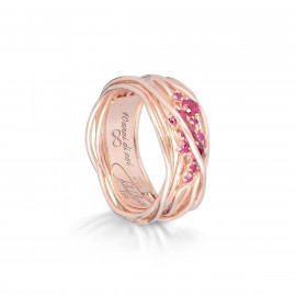 Filodellavita Anello Ten Collection, 10 Fili in Oro Rosa 18kt e 10 Rubini 0.40ct AN100RRB Misura 12